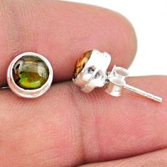 925 silver 4.25cts natural multi color ammolite (canadian) stud earrings t19438