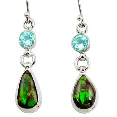 925 silver 9.99cts natural multi color ammolite (canadian) topaz earrings r39212