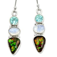 925 silver 9.99cts natural multi color ammolite (canadian) topaz earrings r39236