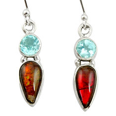 925 silver 7.56cts natural multi color ammolite (canadian) topaz earrings r39548