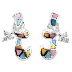 925 silver natural multi color blister pearl topaz enamel earrings a69676 c24824
