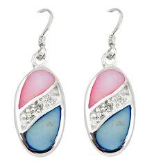 925 silver natural multi color blister pearl topaz enamel earrings a69678 c14280