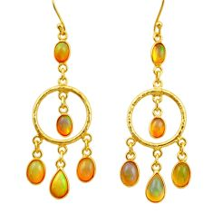 925 silver 10.37cts natural multi color ethiopian opal 14k gold earrings r31393
