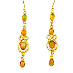 925 silver 8.12cts natural multi color ethiopian opal 14k gold earrings r31414