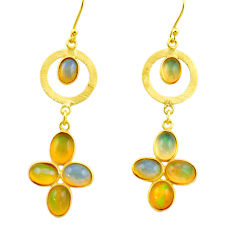 925 silver 10.04cts natural multi color ethiopian opal 14k gold earrings r31428