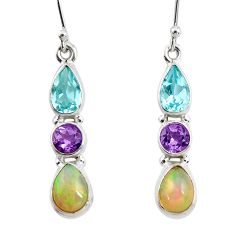 925 silver 8.13cts natural multi color ethiopian opal amethyst earrings r47548