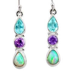 925 silver 8.30cts natural multi color ethiopian opal amethyst earrings r47559