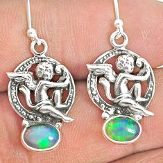 925 silver 2.98cts natural multi color ethiopian opal angel earrings r76252
