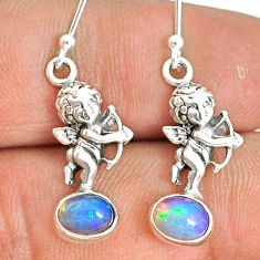 925 silver 3.29cts natural multi color ethiopian opal angel earrings r76295