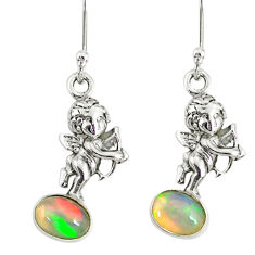 925 silver 2.98cts natural multi color ethiopian opal angel earrings r76707