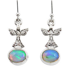 925 silver 4.05cts natural multi color ethiopian opal birds earrings r47479