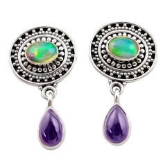925 silver 6.54cts natural multi color ethiopian opal dangle earrings d40675