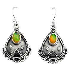 925 silver 3.83cts natural multi color ethiopian opal dangle earrings r21748