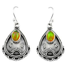 925 silver 3.40cts natural multi color ethiopian opal dangle earrings r21752