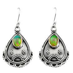 925 silver 3.21cts natural multi color ethiopian opal dangle earrings r21756