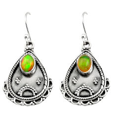 925 silver 3.48cts natural multi color ethiopian opal dangle earrings r21760