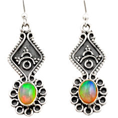 925 silver 3.50cts natural multi color ethiopian opal dangle earrings r21764