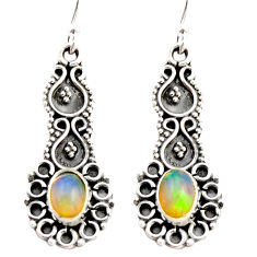 925 silver 3.62cts natural multi color ethiopian opal dangle earrings r21772