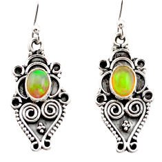 925 silver 3.26cts natural multi color ethiopian opal dangle earrings r21776