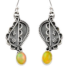 925 silver 3.26cts natural multi color ethiopian opal dangle earrings r21784