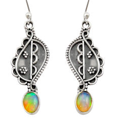 925 silver 3.08cts natural multi color ethiopian opal dangle earrings r21789