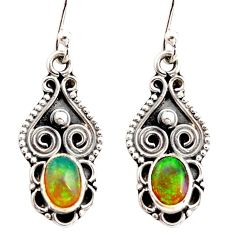 925 silver 3.42cts natural multi color ethiopian opal dangle earrings r21964