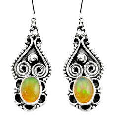 925 silver 3.03cts natural multi color ethiopian opal dangle earrings r21968