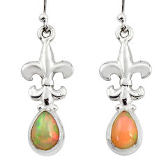 925 silver 4.23cts natural multi color ethiopian opal dangle earrings r47424