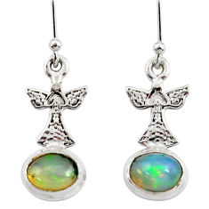 925 silver 4.16cts natural multi color ethiopian opal dangle earrings r47444