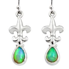925 silver 4.40cts natural multi color ethiopian opal dangle earrings r47451
