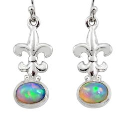 925 silver 4.08cts natural multi color ethiopian opal dangle earrings r47460
