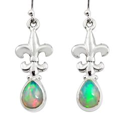 925 silver 4.13cts natural multi color ethiopian opal dangle earrings r47474
