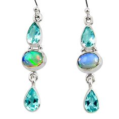 925 silver 11.15cts natural multi color ethiopian opal dangle earrings r51006