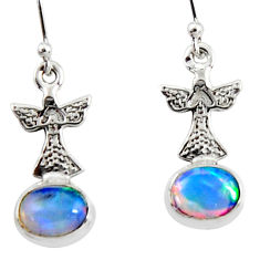 925 silver 3.83cts natural multi color ethiopian opal dangle earrings r51031