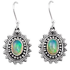 925 silver 3.32cts natural multi color ethiopian opal dangle earrings r55304
