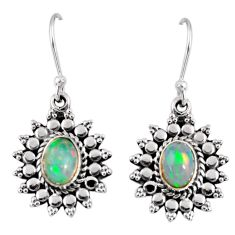 925 silver 3.32cts natural multi color ethiopian opal dangle earrings r55307