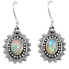 925 silver 3.26cts natural multi color ethiopian opal dangle earrings r55310