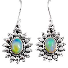 925 silver 3.32cts natural multi color ethiopian opal dangle earrings r55313