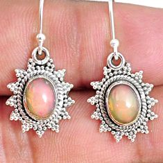 925 silver 4.16cts natural multi color ethiopian opal dangle earrings r75237