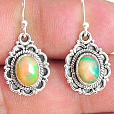 925 silver 4.19cts natural multi color ethiopian opal dangle earrings r75244
