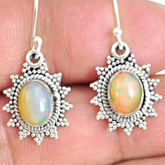 925 silver 4.18cts natural multi color ethiopian opal dangle earrings r75256