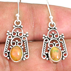 925 silver 3.05cts natural multi color ethiopian opal dangle earrings r84144