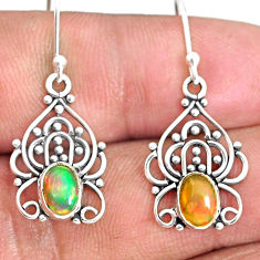 925 silver 3.05cts natural multi color ethiopian opal dangle earrings r84152