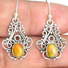 925 silver 3.05cts natural multi color ethiopian opal dangle earrings r84168