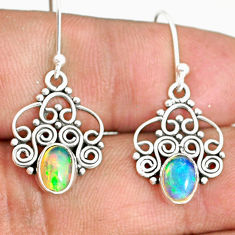925 silver 3.05cts natural multi color ethiopian opal dangle earrings r84176