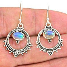 925 silver 2.09cts natural multi color ethiopian opal dangle earrings t28170