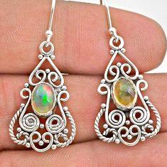 925 silver 3.05cts natural multi color ethiopian opal dangle earrings t28220