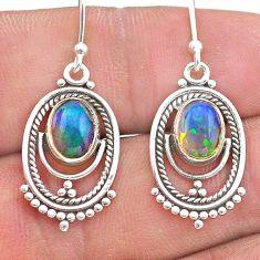 925 silver 3.89cts natural multi color ethiopian opal dangle earrings t28248