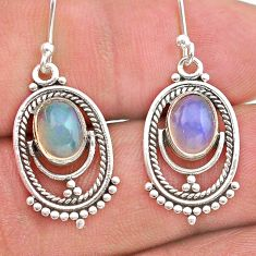 925 silver 3.80cts natural multi color ethiopian opal dangle earrings t28259