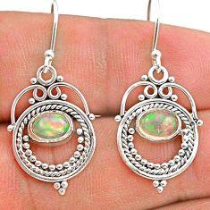 925 silver 2.78cts natural multi color ethiopian opal dangle earrings t28264